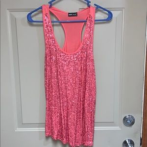 Wet Seal coral sequined racerback tank
